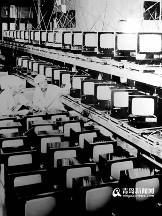 上世纪70年代青岛电视机厂9寸黑白电视生产线