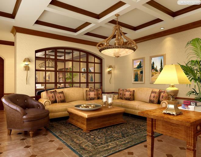 装修 > 正文       典型的欧式古典风格客厅里的沙发摆放组合,面对