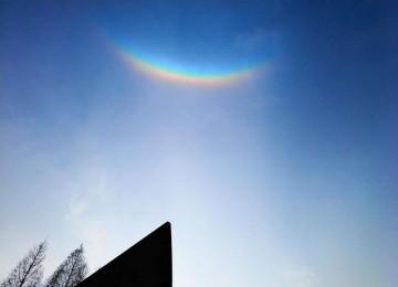 """青岛湛山寺上空出现罕见的""""彩虹照寺奇观"""""""