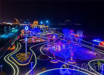 石老人海滨霓虹彩灯庆新年 流光溢彩如梦似幻