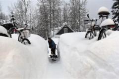 美国超强暴雪:居民出门挖隧道