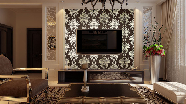 地毯用深灰色花纹,沙发茶几都用深咖色